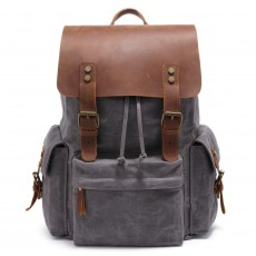 Men's Computer Backpack Retro Crazy Horse Leather Backpack Canvas Backpack Men's Bag