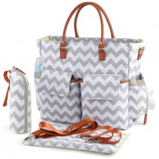 Multifunctional Large-capacity Mommy Bag Printed Wave Pattern Maternity Bag Canvas Portable Mommy Bag