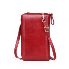 Solid Color Single-shoulder Messenger Bag Multifunctional Mini Wild Cover Type Vertical Mobile Phone Bag
