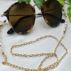 Fashion simple mask rope pearl glasses chain metal chain antiskid glasses chain