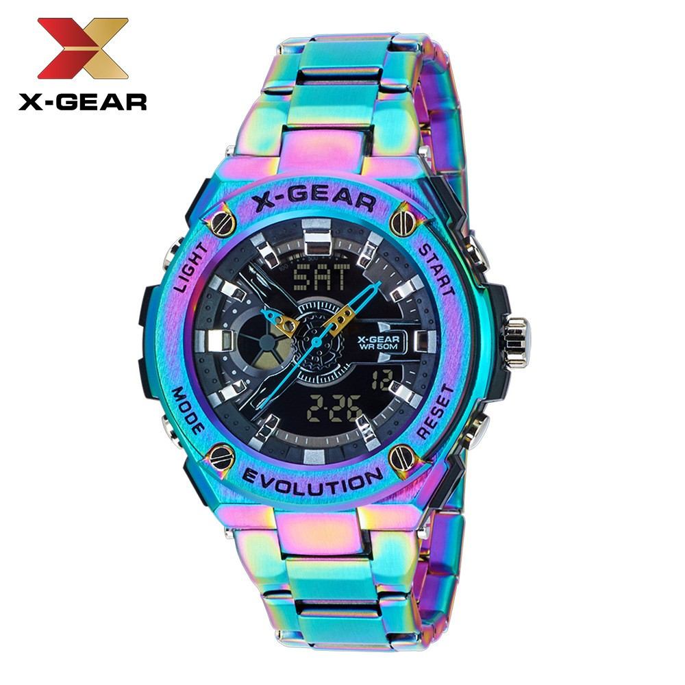 X-GEAR Cool Men's Stainless Steel Electronic Quartz Watch Large Dial Waterproof Watch MOQ 20pcs