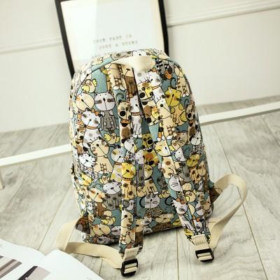 Canvas Backpack Primary School Schoolbag Female Cute Cat Print Backpack