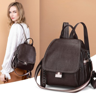 All-match Autumn And Winter Multi-function Backpack Large Capacity Soft Leather Anti-theft Travel Bag