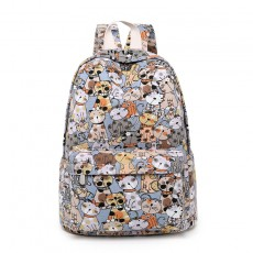 Canvas Backpack Primary School Schoolbag Female Cute Cat Print Backpack