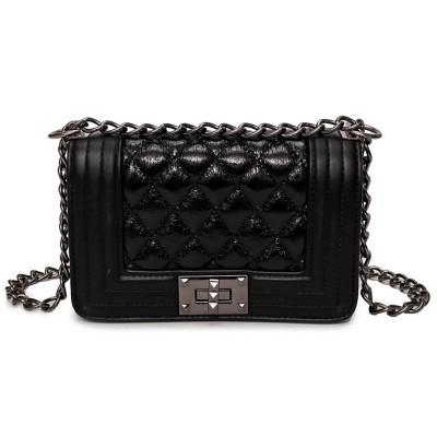Three-dimensional Shaped Lock Small Square Bag, Multi-element Medal, One-shoulder Diagonal Handbag
