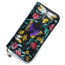 Retro Classic Pattern Long Rose Leather Multi-card Embossed Flower Wallet For Women