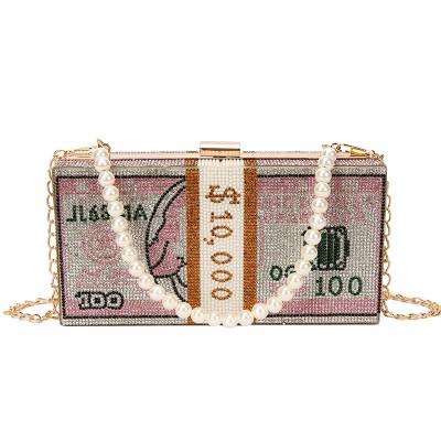 2020 Fashional Rhinestone Shoulder Bag Full Rhinestone Shoulder Bag With Dollar Design For Girls