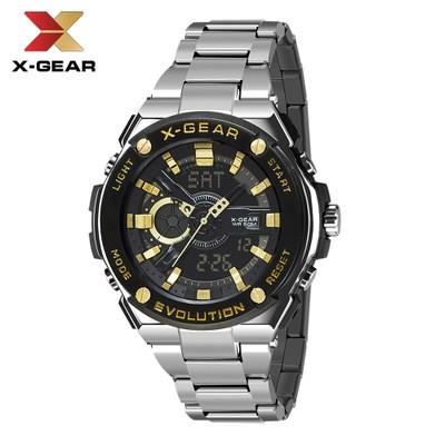 X-GEAR Fashion Men's Stainless Steel Quartz Watch Large Dial Waterproof Electronic Watch MOQ 20pcs