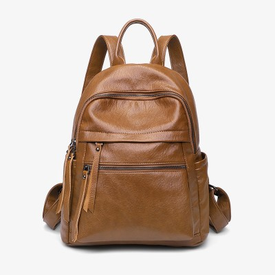 Large Capacity Fashion All-match Soft Leather Anti-theft Backpack Student School Bag Leisure Travel Bag