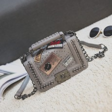 Three-dimensional Shaped Lock Small Square Bag, Multi-element Medal, One-shoulder Diagonal Handbag