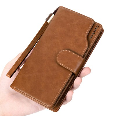 Men's Clutch Long Wallet Oil Wax Leather Men's Crazy Horse Leather Retro European And American Wallet
