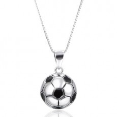 New Soccer Accessories S925 Sterling Silver Soccer Pendant Fashion Character Necklace Accessories MOQ 1 pcs