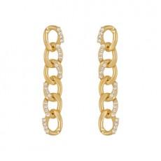Personality Design Chain Earrings Retro Fashion Earrings Pendant Ladies Long Rhinestone Earrings MOQ 1 set