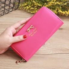 Simple Bow Coin Purse Fashional Lady Coin Purse Zipper Wallet Long Coin Purse Card Holder