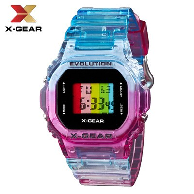 Cool Rainbow Color Square Simple Digital Electronic Watch MOQ 20PCS