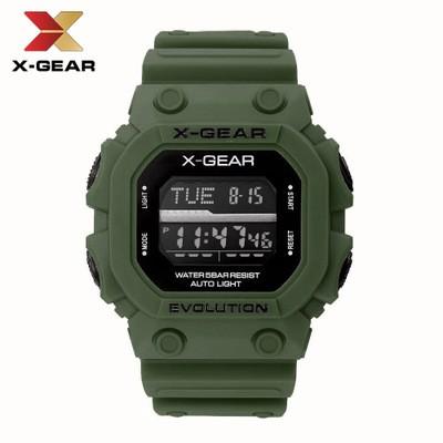 X-GEAR REVOLUTION ArmyGreen Sports Watch Waterproof Men's Electronic Watch MOQ 20PCS