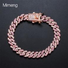 Hot Sale 3 Mini Pink Zircon Cuban Chain DIY Personalized Hip-Hop Couple Bracelet with 2-color Zircon Bracelet  Bangles MOQ 1pcs