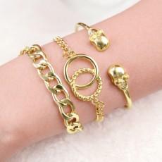 Fashion Jewelry Female Personality Skull Chain Alloy Ladies Multi-layer Bracelet 3 Pieces  MOQ 1 Set