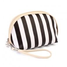 Custom Striped Shell Cosmetic Bag PU Cosmetic Bag Cross Pattern Cosmetic Bag