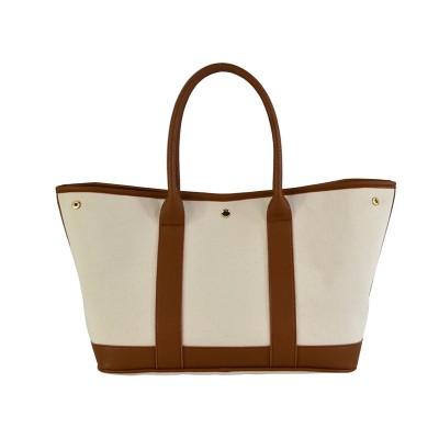 PU Stitching Canvas Bag Custom Sewing End Shopping Bag Custom Logo Pattern Three-dimensional Tote Bag