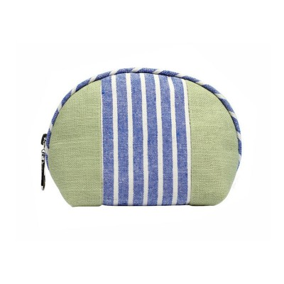 Custom Striped Shell Linen Cosmetic Bag Hand-held Cosmetic Bag With Logo For Women