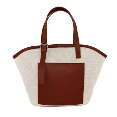 Stitching PU Canvas Vegetable Basket Bag Canvas Bag Thickened Portable Tote Bag