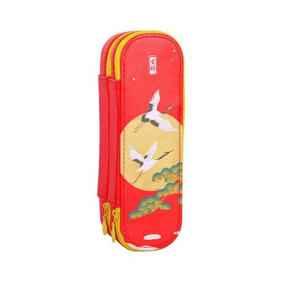 Antique Simple Large-capacity Double-layer PU Pencil Case Storage Chinese Style Stationery