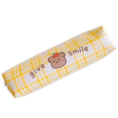 Cartoon Large Capacity Stationery Box Student Cute Lattice Japanese Pencil Case PU Simple Stationery Bag