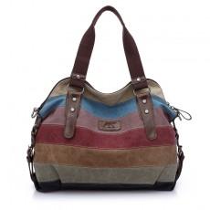 Canvas Casual Retro Fashion Art School One-shoulder Diagonal Large-capacity Female Bag Hit Color Stitching Bag