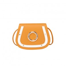 Contrasting Color One Shoulder Diagonally Across Large Circle Saddle Bag Casual Students All-match Solid Color Bags