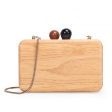 Creative Style And Retro Design Handmade Wooden Clutch Evening Bag Messenger Chain Pouch For Ladies