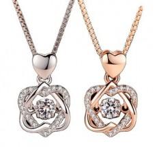 18K Pendant Gift Heart Beating Double Diamond Hexagon Star Smart Tiara Necklace