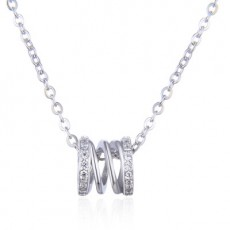 Fashion Necklace S925 Sterling Silver Plated Diamond Inlaid Zircon Spring Pendant With Female Collarbone Chain Silver MOQ 1PCS