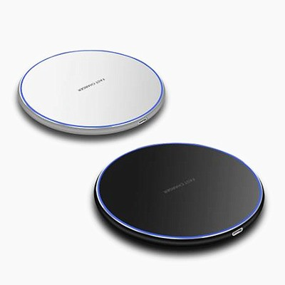 10W Smart QI Wireless Charger Metal Simple Round Desktop Phone Fast Charge Wireless Charger