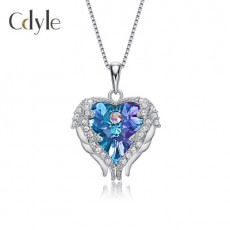 S925 Sterling Silver Ocean Heart Necklace With Diamond Angel Wings Swarovski Crystal Pendant
