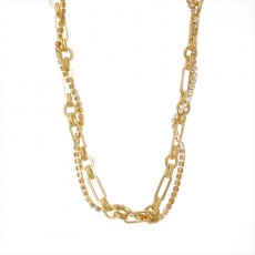 Ladies Retro Geometrical Bronze Plated Real Gold Necklace Diamond Multilayer Fashion Snake Chain
