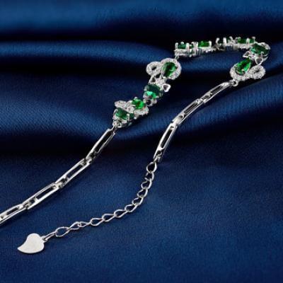 New S925 Sterling Silver Diamond Inlaid Zircon Bracelet Women Fashion Luxury Silver Jewelry