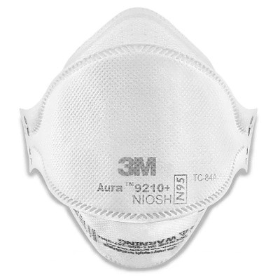 3M Aura 9210+ NIOSH N95 Particulate Respirator Flat Fold Face Masks Box of 20