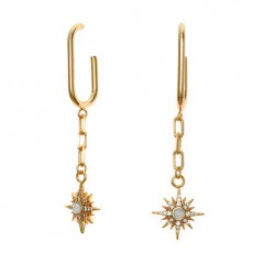 Gold Vintage Star Pearl Earrings Fashion Copper Plated Real Gold Long Earrings MOQ 1SET