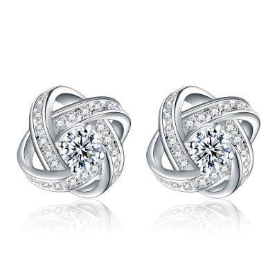 Fashion Diamond Earrings S925 Sterling Silver Earrings Women Personality Fashion Temperament Earrings