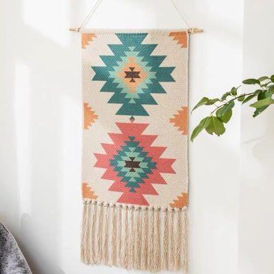Draped Tassel Tapestry Adornment Bohemian Nordic Hand-woven Tassel Art Tapestry Wall Adornment