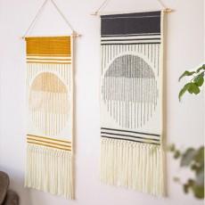 Woven Tapestry INS Cotton Thread Woven Colorful Print Handmade Knots Tassel Wall Decoration MOQ 1PCS