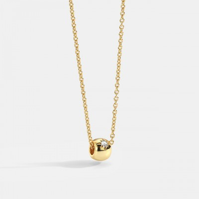 Golden Transfer Bead Necklace Female ins Simple Six-pointed Star Diamond Bead Clavicle Chain Fashion Jewelry
