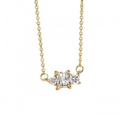 Exquisite Geometric Zircon Necklace Female ins Personality Golden Clavicle Chain Accessories Necklace