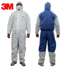 3M 4535 White and Blue Back Hooded One-piece Protective Clothing Chemical Liquid Splashing Sand and Breathable Dust-proof Clothing