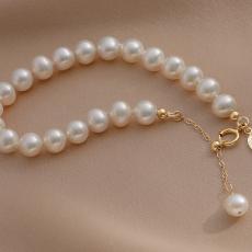 Mussel-Pearl Bracelet 14K Gold Elegant Natural Pearl Bracelet