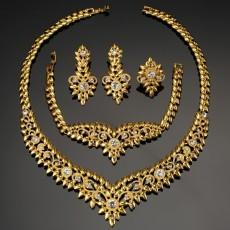 Dubai Jewelry Diamond Set Women's Necklace Earrings Ring Bracelet Four-piece Jewelry