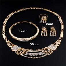 2021 Middle East Bridal Alloy Diamond Earrings Ring Bracelet Necklace Four Piece Set