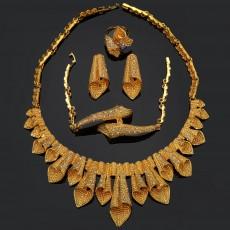 Arabian Gold-plated Diamond Set Women's Necklace Earrings Ring Bracelet Four-piece Jewelry