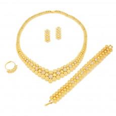 Arabian Gold-plated Diamond Set Women's Necklace Earrings Ring Bracelet Four-piece Set